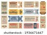 vintage tickets on baseball... | Shutterstock .eps vector #1936671667