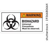 ansi biohazard warning label... | Shutterstock .eps vector #1936680664