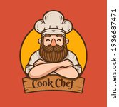 chef with beard and mustache...   Shutterstock .eps vector #1936687471