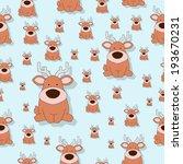 seamless wallpaper.cute deer... | Shutterstock .eps vector #193670231