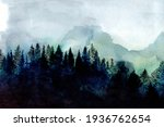 hand painted watercolor forest  ... | Shutterstock . vector #1936762654