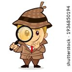 detective mascot cartoon in... | Shutterstock .eps vector #1936850194