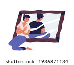 sad woman with anorexia and... | Shutterstock .eps vector #1936871134