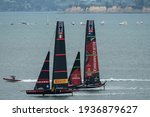 Small photo of Waitemata Harbour, Auckland, New Zealand - March 16 2021: Emirates Team New Zealand, Te Rehutai and Luna Rossa Prada Pirelli during the ninth race of the 36th America's Cup.