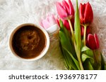 Coffee And Red And Pink Tulips...