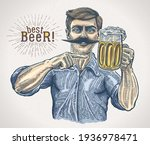 man  maybe a brewer  pointing...   Shutterstock .eps vector #1936978471