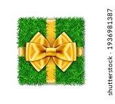 gift box 3d. green grass box... | Shutterstock .eps vector #1936981387