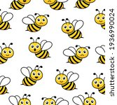 cute bees seamless pattern with ... | Shutterstock .eps vector #1936990024