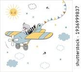 little boy pilot in airplane... | Shutterstock .eps vector #1936999837