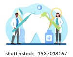male and female dentists curing ... | Shutterstock .eps vector #1937018167