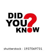 did you know sign on white...   Shutterstock .eps vector #1937069731