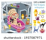 cats and mummy. find 10 objects ... | Shutterstock .eps vector #1937087971