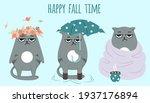 Set Of Grumpy Grey Cats. Happy...