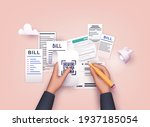hands holding paying bills and... | Shutterstock .eps vector #1937185054