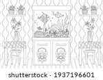 room with flowers on tables and ...   Shutterstock .eps vector #1937196601