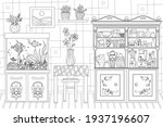 kitchen with flowers on tables...   Shutterstock .eps vector #1937196607