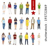 Multiethnic People on White Background.