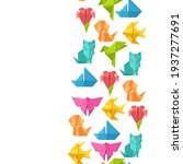 seamless pattern with origami... | Shutterstock .eps vector #1937277691