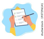 hands holding clipboard with... | Shutterstock .eps vector #1937296141