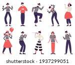 mimes characters. silent actors ... | Shutterstock .eps vector #1937299051