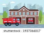 fire station building with fire ...   Shutterstock .eps vector #1937366017