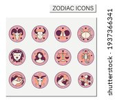 zodiac color icons set. fourth... | Shutterstock .eps vector #1937366341