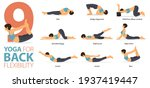 infographic 9 yoga poses for... | Shutterstock .eps vector #1937419447
