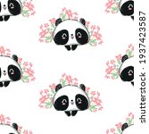 panda bear and flowers pattern... | Shutterstock .eps vector #1937423587