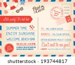 vintage summer holiday postcard ... | Shutterstock .eps vector #193744817