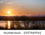 sunrise over columbia river with geese flying near hanford reach