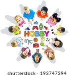group of children and hobby... | Shutterstock . vector #193747394