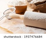 Flour And Rolling Pins On The...