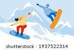 snowboarding sport people on... | Shutterstock .eps vector #1937522314