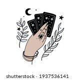 female hand holds magic tarot... | Shutterstock .eps vector #1937536141