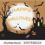 tree spider bat castle horror | Shutterstock .eps vector #1937538124