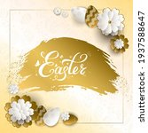 happy easter card with gold... | Shutterstock .eps vector #1937588647