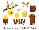 set of different wooden beehive ...   Shutterstock .eps vector #1937595574