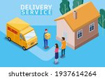 isometric express and delivery. ... | Shutterstock .eps vector #1937614264