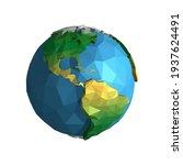 planet earth polygonal. vector... | Shutterstock .eps vector #1937624491