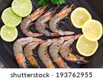 fresh shrimps with lemon and... | Shutterstock . vector #193762955