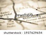 Paoli. Indiana. USA on a geography map