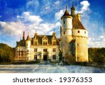 castles of Loire valley - picture in painting style - stock photo