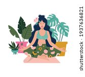 woman meditating at home around ... | Shutterstock .eps vector #1937636821