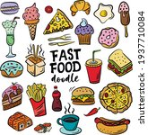 set of hand drawn food isolated ...   Shutterstock .eps vector #1937710084