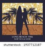 long beach surfing girl vintage ... | Shutterstock .eps vector #1937712187