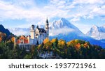 Beautiful view of Neuschwanstein castle in the Bavarian Alps, Germany.