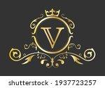 golden stylized letter v of the ...   Shutterstock .eps vector #1937723257