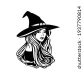 beautiful witch with long hair... | Shutterstock .eps vector #1937790814