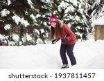 Woman Skiing In The Winter...