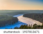 Winter Forest And River In The...